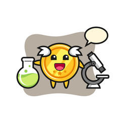 Mascot character medal as a scientist vector