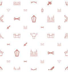 Medieval icons pattern seamless white background vector