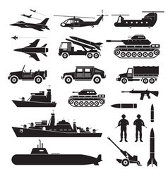 Military Vehicles Object Silhouette Set Side View vector