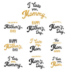 mothers day hand lettering inscriptions set vector image vector image