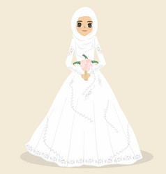 Muslim bride muslim wedding dress vector