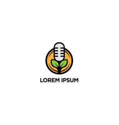 Nature podcast logo design template vector