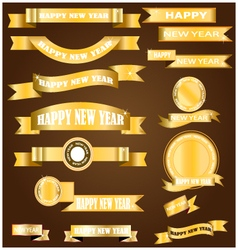 New year gold ribbon vector image vector image