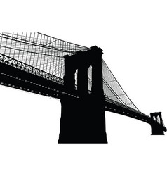 new york brooklyn bridge black silhouette vector image