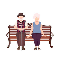 old man and woman or grandparents sitting on bench vector image