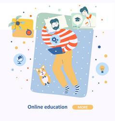 online study educationin flat style man resting vector image