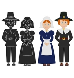 Pilgrim boy and girl vector