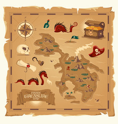 pirate treasure map old parchment vector image