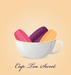 Poster with color french macaroons inside cup vector image