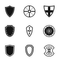 Protective shield icons set simple style vector