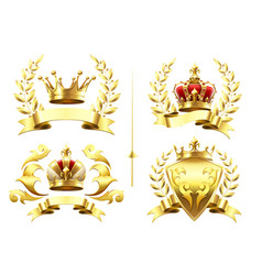 Realistic heraldic emblems insignia with golden vector