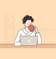 remote distant work and freelance concept vector image