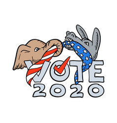 republican elephant and democratic donkey vector image