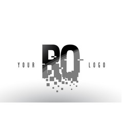 Ro r o pixel letter logo with digital shattered vector