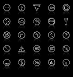 road sign line icons with reflect on black vector image