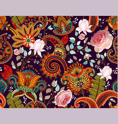 roses pattern paisley and roses colorful vector image