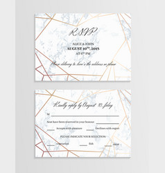 Rsvp geometric design card template two sides vector