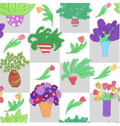 Seamless pattern with cute cartoon colored plants vector