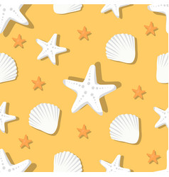 seamless pattern with marine shells and starfish vector image