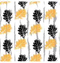 seamless pattern with oak leaf orang and vector image