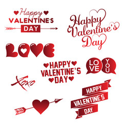 set happy valentine s day hand lettering vector image
