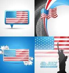Set of american flag design vector