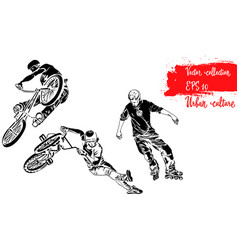 Set of bike rider jumping and roller skater vector