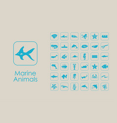 Set of marine animals simple icons vector