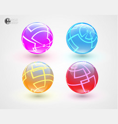 Set of multicolored glass sphers vector