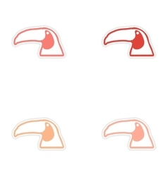 Set of stickers brazilian toucan on white vector