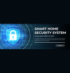 Smart home security system - web banner template vector