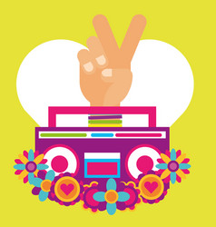 stereo radio hand pece and love flowers hippie vector image