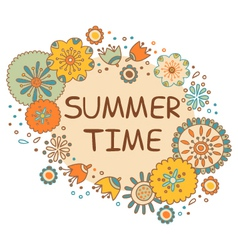 summer time hand drawn lettering with flowers vector image