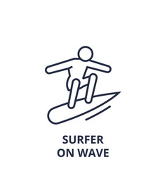 Surfer on wave line icon outline sign linear vector