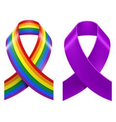 Symbols of lgbt rainbow pride loop ribbon vector