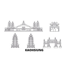 Taiwan kaohsiung line travel skyline set taiwan vector