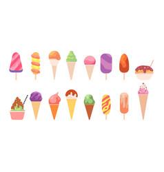 tasty ice cream summer glace dessert cone vector image