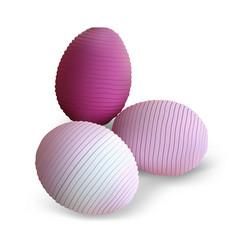 three easter eggs with striped pattern vector image