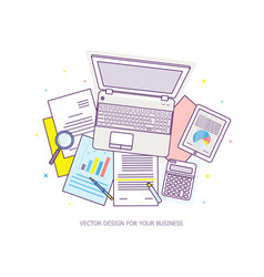 top view workplace with documents and laptop vector image