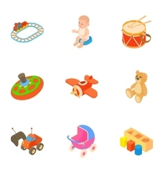 Toys for kids icons set cartoon style vector image