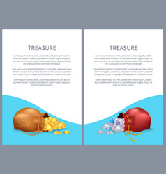 treasure posters with bags shiny diamonds and gold vector image