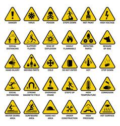 triangle warning sign danger symbols safety vector image