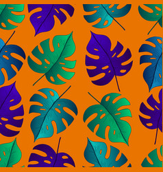 tropical leaf monstera seamless pattern background vector image