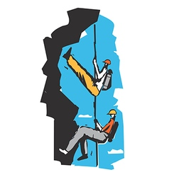 Two climbers on a rope cartoon vector image