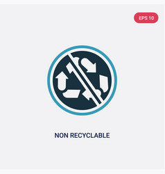Two color non recyclable icon from shapes concept vector