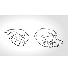 Two hands with open fist and close fist Soncept vector image
