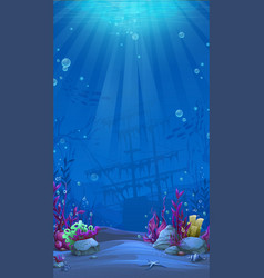 Vertical background - blue theme of undersea world vector