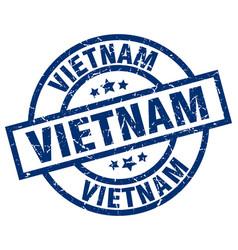 vietnam blue round grunge stamp vector image