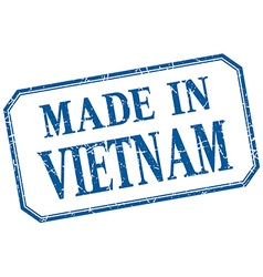 Vietnam - made in blue vintage isolated label vector image