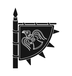 Viking s flag icon in black style isolated on vector image